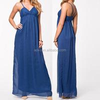 wholesale China factory OEM latest design spaghetti strap chiffon maxi blue dress pictures of nude women