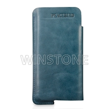 cowhide wax leather cellphone case with recessed logo