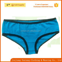 custom basic lady underwear black binding blue cotton women panties