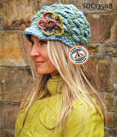 SDC13508 Ladies Hand Crochet Knitted Hat with Beautiful Flower