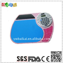 Top quality PU leather mouse pad with 8 digitals solar calculator