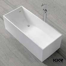 Solid surface freestanding rectangular corner bathtub