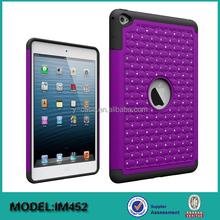 Diamond design unbreakable PC + Silicon carry case for iPad mini 4