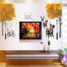 free shipping Autumn Tree Wall sticker living room Bedroom Children's room Decorative wall stickers 60*90cm DF5073