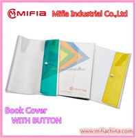 Special New Design PVC clear plastic protective book covers with button