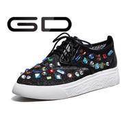 Women Platform Lace Up Shoes High Top Sneakers Heels Shoe decoration jewel