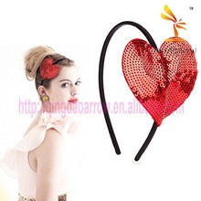 Hot heart shape headband with sequin for girls