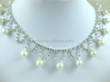 top quality custom pearl and rhinestone cup chain for decorate