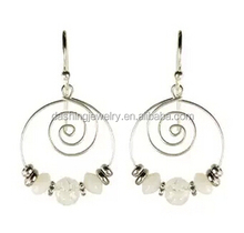 Hot Selling Sky Wire Spiral Pale Translucent Bead bali jewelry earring