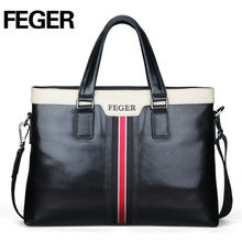 Feger Hot Sale Cow Leather Fashion Business Bag Men's Briefcase Hanbagsmen's briefcase handbag