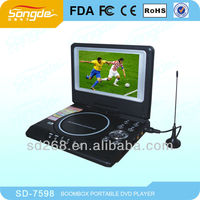 7'' portable DVD player with tv and lcd screen