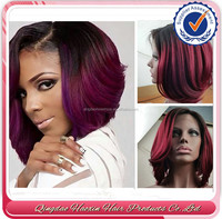 Wholesale straight brazilian human hair ombre 1b#/ red short bob lace front wig