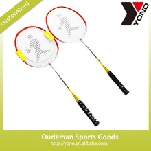 Model YN-410 Export Popular Factory Red ferroalloy Badminton Racket for cheap with Shuttlecock sale