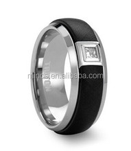 Tungsten Ring with Black Center and .17 ct Square Diamond Setting by Triton Rings