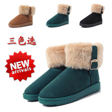 Free Shipping 2014 Hot Sale Women Ankle Warm Short Plush Lady Shoes Winter Thicken Nubuck Leather Plus Size Snow Boots