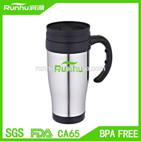 New 16oz stainless coffee cup with lid and straw RH131B-14
