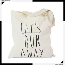 ladies' shopping plain white cotton canvas tote bag