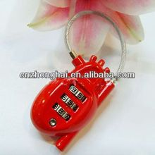 Mini Heart shaped l Suitcase/ luggage lock code padlock/cartoon combination lock