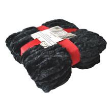 Fashion St. Faux Fur Ultra Soft Throw Blanket, 50 by 60-Inch, Black