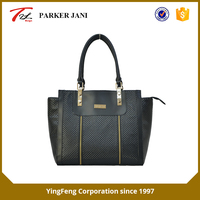 Trendy embossing lattice pattern pvc ladies tote handbag