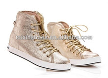 Golden/Silver Shiny Lace up with Zippers Casual Shoes for Women