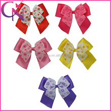 High Quality Cheerleading Cheer Bow Printed Flowers Eco-friendly Hair Bow With Clip For Girls (CNHBW-1306201)