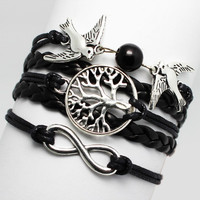 High Quality Rould Lucky Life Peace Hope Tree Birds Black HImitation Pearl Charms infinity woven PU leather Braid Braclet