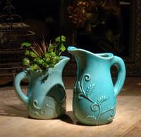 ceramic blue color home decor pottery china porcelain vase