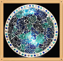 30cm Handmade Round Shape with Pearl Wedding Decoration and Home Centerpieces Tempered Crackle Mirror Mosaic Glass Plate