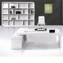 Canton Fair High Light New Design White High Glossy Office Desk, front counters table