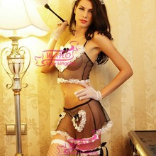 WAHO Women Lace Patchwork Mesh Transparent House Maid Uniform Sexy French Maid Costume Sexy Cosplay Maid Lingerie