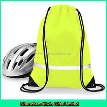 Sports Nylon Reflective Drawstring Backpack with Silver stripe