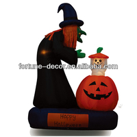180cm/6ft inflatable Halloween decoration witch and pumpkin with up & down ghost