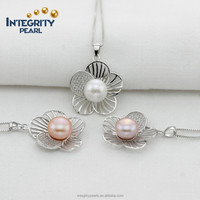 9-10mm AAA grade button shape big flower women freshwater pearl jewelry nice design pearl pendant