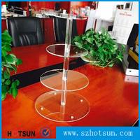 Clear square 4 floors acryic cake display shelf