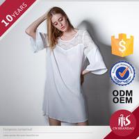 Sexy Women Fashion Three Quarter Flare Sleeve Lace Shoulder Nightware Loose Sleepware Gril Club Dresses