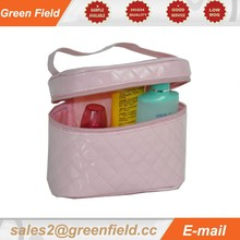 PVC cosmetic bag train case, travel ladies pink PVC cosmetic bag train case