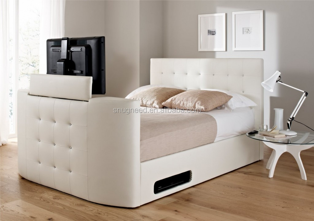 King size tv bed fabric tv bed modern bed with tv in foot for Foot of bed furniture