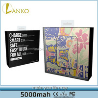 Flower Butterfly 5000mah power bank portable charger for mobile