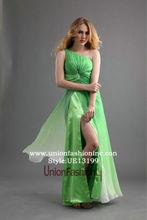 Sexy chica joven vestido de split pierna diseño jade verde color de tulle de 2015 mujeres de moda visten los vestidos pakistani
