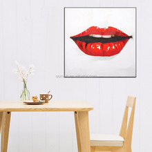 Mans Favorite Hand Painted Lips Painting Facing Forward On Canvas Hot Red Lip Oil Painting Sexy Lips For Decor