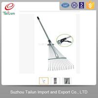 spring steel retractable leaf grabber rake with 15 tines
