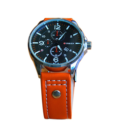 New Curren FashionJapan Movt Quartz Watch Stainless Steel back,Leather Strap Watch