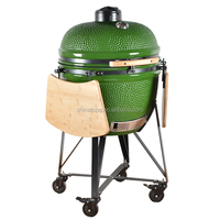 TOPQ Barrel Charcoal kamado bbq Smoker with Rolling Cart for Outdoor Backyard