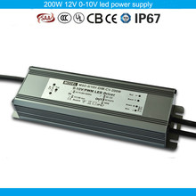 Five years warranty CE SAA TUV passed PWM compatible 200W 12V dimmable led driver