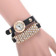 Fashion Girl's Synthetic Leather Sling Chain rhinestone bracelet watch cheap china watch