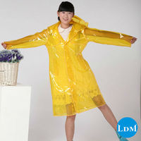 New style 100%PVC quadrate yellow rain poncho for women