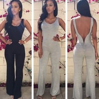 C66083A Hot sale !! Irregular round neck sleeveless sexy jumpsuit for ladies
