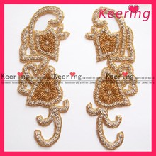 pair gold beads and rhinestone trimmings accessories dresses for wedding WRA-121