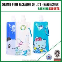 new Outdoor sport cartoon portable folding sports water bottles 480ml bpa free foldable drinking bottle